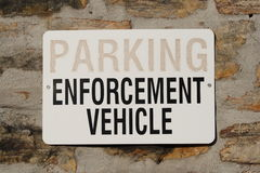 Parking for Enforcement Vehicle Sign Stock Images