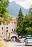 Parking at the entrance to the Rila Monastery in Bulgaria Stock Images
