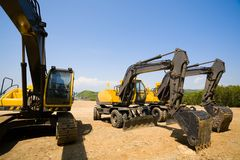 Parking excavators Royalty Free Stock Photography