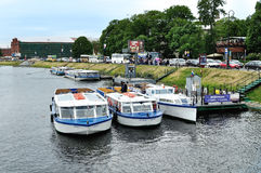 The parking of excursion boats and the embankment near Peter and Paul fortress in Saint-Petersburg, Russia Stock Image