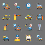 Parking facilities flat icons graphite background Royalty Free Stock Images