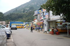 Parking Facility and Stores at Shek O Beach, Hong Kong. Shek O Beach is a popular place for Hong Kong Citizens to spend their weekend at Stock Photography
