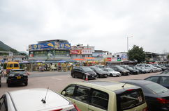Parking Facility and Stores at Shek O Beach, Hong Kong. Shek O Beach is a popular place for Hong Kong Citizens to spend their weekend at Royalty Free Stock Photo