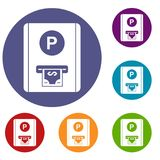 Parking fee icons set Stock Photography