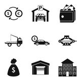Parking fine icons set, simple style Stock Photos