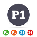 Parking first floor icon. Car parking P1 symbol. Parking first floor sign icon. Car parking P1 symbol. Round colourful buttons with flat icons. Vector Stock Images