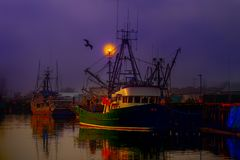Parking, fishing boats in a foggy night. Berth, fishing boats in a purple foggy evening at the pier royalty free stock images