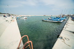 Parking of fishing boats on the new pier Sarafovo in Bourgas, Bulgaria Stock Image