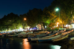Parking fishing boats at night in Pomorie. Bulgaria Stock Images