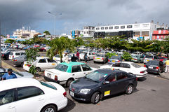 Parking Flacq, Mauritius. FLACQ, MAURITIUS-JUNE 23: Shopping day at Flacq market. A lot of turists go to Flacq market by taxi June 23, 2013 in Flacq, Mauritius Royalty Free Stock Photos