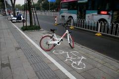 Parking floor in front of Dongwu New Century Grand Hotel in Huzhou/China. HUZHOU, ZHEJIANG, CHINA - NOVEMBER 20 : Bicycles parking floor in front of Dongwu New stock image