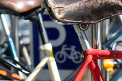 Parking For Bicycles In Summer Royalty Free Stock Images