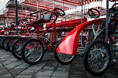 The Parking of four wheeled bicycles, velomobiles stock photo