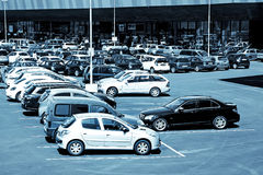 Parking in front of a Shopping center Stock Image