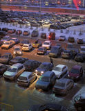 Parking in front of the shopping center in the winter Royalty Free Stock Photos
