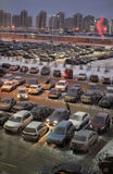 Parking in front of the shopping center in the winter Stock Photography