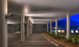 Parking Garage. Empty first level of a parking garage stock image
