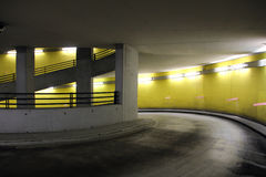 Parking garage. With bright neon lights at night Royalty Free Stock Photos