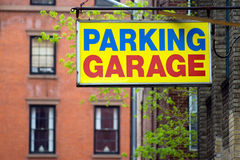 Parking Garage. Sign in Brooklyn borough, New York city stock images