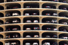 Parking Garage. Multi leveled parking garage in a city high rise building stock photography