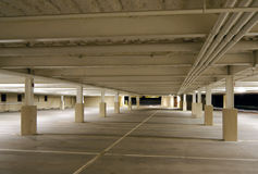 Parking Garage. Empty Parking Garage at night royalty free stock photography