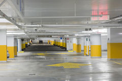 Parking garage. Interior view of an underground parking garage royalty free stock photos