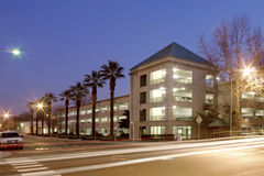 Parking Garage. At night with palm trees Stock Photography