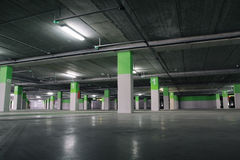 Parking Garage. Airport Parking garage underground, industrial interior stock photo