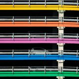 Parking garage with colored lines stock photo