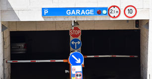 Parking garage. Entrance of the parking garage Royalty Free Stock Photography