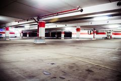 Parking garage, grunge underground interior Stock Photo