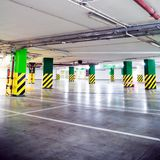 Parking garage, grunge underground interior Royalty Free Stock Images