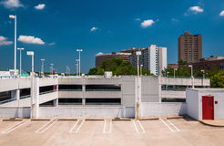 Parking garage and highrises in Towson, Maryland. Stock Photography