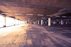 Parking garage of shopping center Royalty Free Stock Images