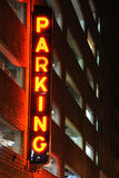 Parking Garage Sign. A lit parking sign at a parking garage Royalty Free Stock Image