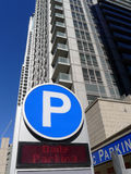 Parking Garage Sign. A big letter P at the entrance to a public parking garage in a high rise building royalty free stock photos