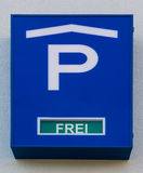 Parking Garage Sign German Language Free Spots Blue Detail Traffic Stock Photography