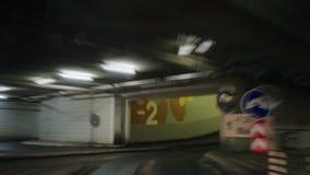 Parking garage underground, industrial interior stock video