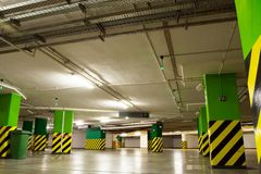 Parking garage, underground interior Stock Images