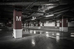 Parking garage underground interior Royalty Free Stock Images
