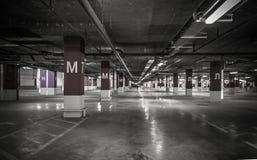 Parking garage underground interior Royalty Free Stock Photo