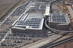 Parking Garages. Aerial view of Parking Garages with solar panels stock image