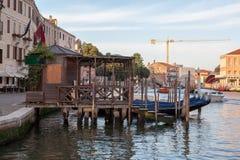 Parking gondolas near the railway station in Venice. Stock Image
