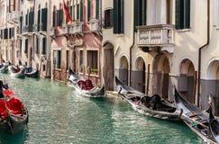 Parking gondolas in Venice Royalty Free Stock Photo