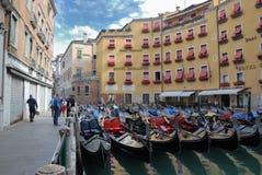 Parking of gondolas in Venice Stock Photography