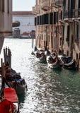 Parking gondolas in Venice Stock Photography