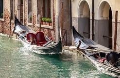Parking gondolas in Venice Stock Images