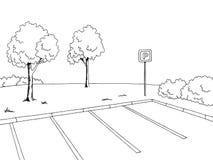 Parking graphic art black white landscape sketch illustration. Vector Royalty Free Stock Photo