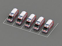 Parking with a group of ambulances. 3d rendering stock illustration