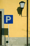 Parking in guimaraes. Street sceene with a parking sign and a lamplight Royalty Free Stock Photography